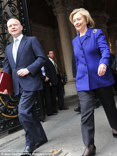 Arrivals at Number 10 Downing Street Westminster London William Hague and Hilary Clinton