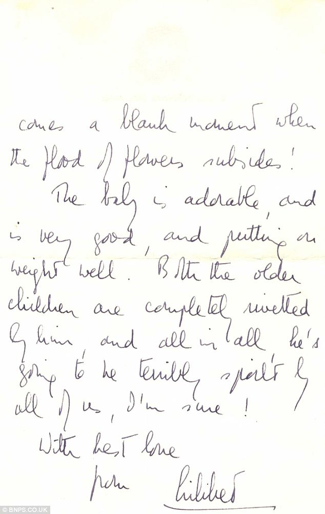 Pen name: The Queen signed the letter 'Lilibet', the name she was called by family and close friends