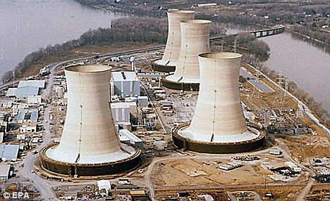 Past disaster: Three Mile Island nuclear power station in Pennsylvania which suffered a partial core meltdown in 1979