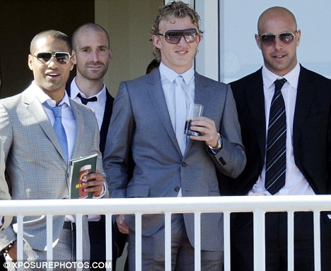 Team players: Liverpool stars Glen Johnson, Dirk Kut and Pepe Reina were out at Aintree today too