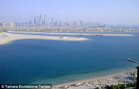 Check out the view: Ecclestone Tweeted the view of Dubai city centre from her £460-a-night room at the One And Only on The Palm