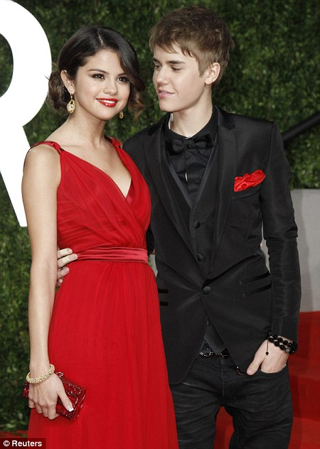 Tween romance: Selena and Justin went public with their relationship at the Oscars in February