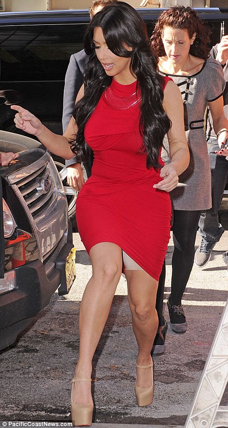 Kim Kardashian exposed a pair of SPANX support pants when arriving at a TV studio in New York today