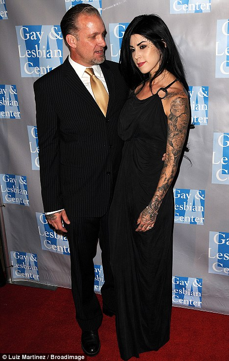 Look of love: Jesse James gazes adoringly at fiancee Kat Von D as they arrive at An Evening with Women last night in LA