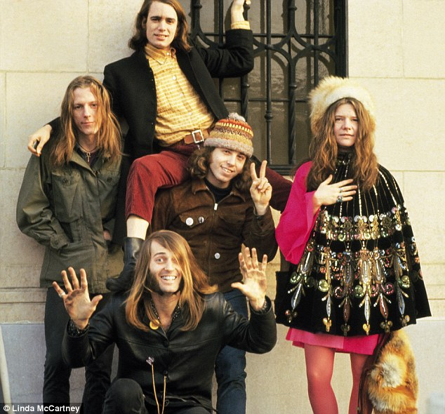 Travelling abroad: Here Linda photographed Janis Joplin poses with Big Brother and Holding Company in San Francisco in 1967