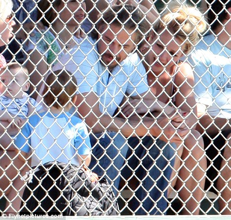 Show of support: Britney and Jason spent time yesterday watching Britney's son Sean Preston play baseball