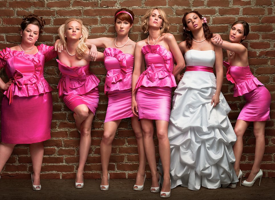 Save the date: Bridesmaids stars Kristen Wiig (fourth from left) as Annie - a maid of honour charged with making her friend Lillian's day as special as possible. The film is released in the U.S. on May 13