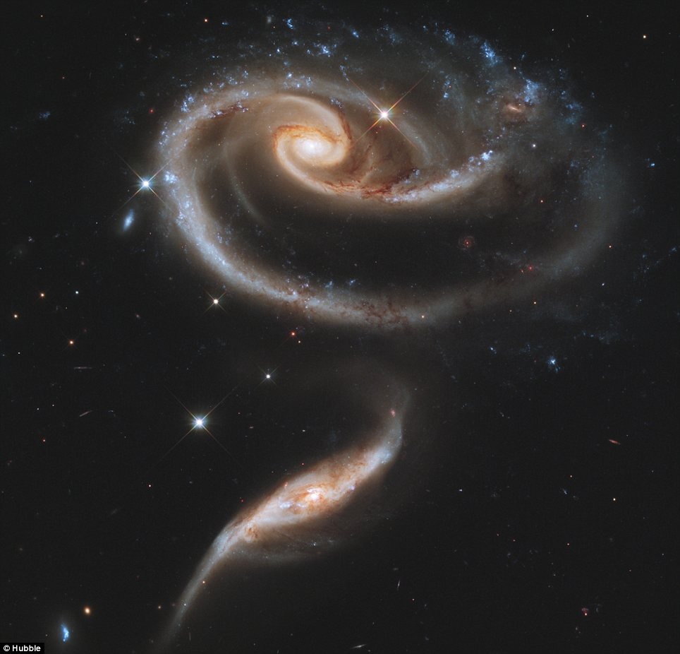 Rose without a thorn: This image released today by the Hubble Space Telescope shows the complex interaction between two galaxies known as UGC 1810 and UGC 1813