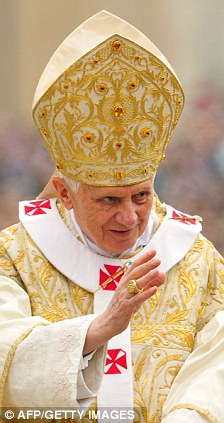 Firm approach: Pope Benedict XVI also used the phrase 'aggressive secularism' before Christmas