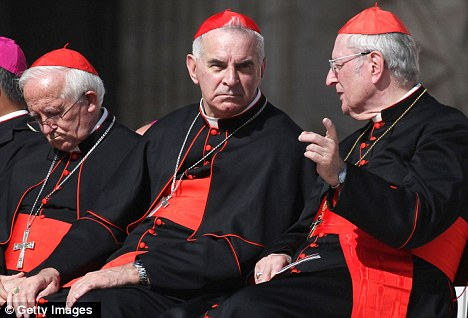 Tough line: Edinburgh Cardinal Keith O'Brien (centre) has spoken out about 'aggressive secularism' which has 'marginalised' Christians