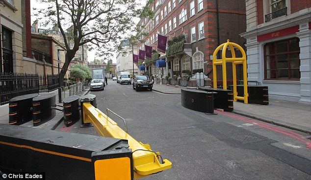 No entry: Barriers will prevent any vehicles from reaching the hotel where Kate will spend her last night as a single woman