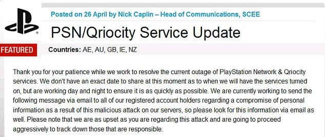 Sony's announcement of the PSN hacking incident