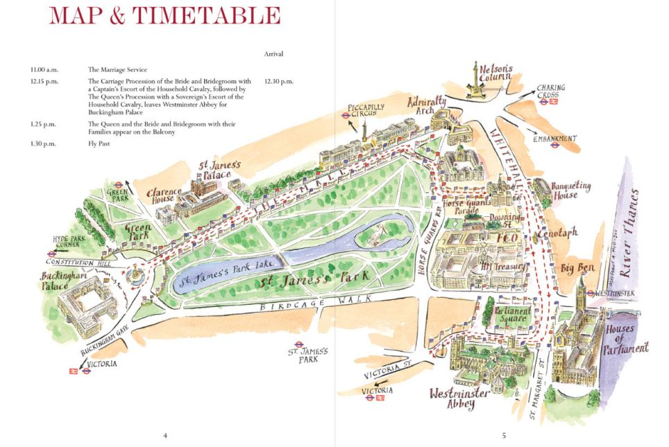 The second page of the souvenir programme has a map of the route taken by bride and groom and basic order of service