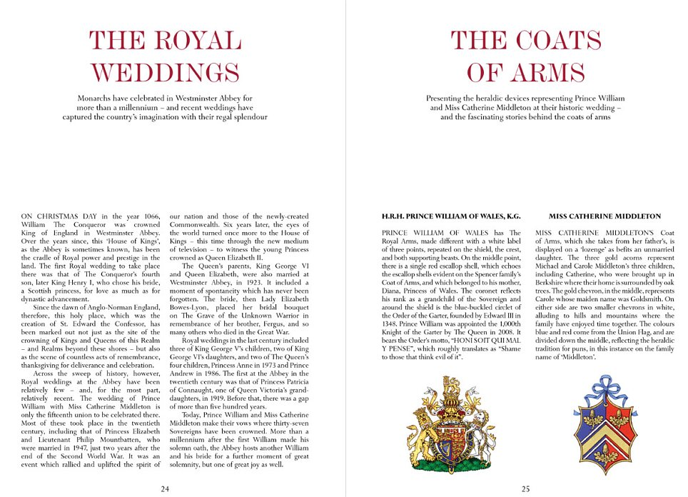 The 12th page details the history of Royal Weddings in the UK and the Coats of Arms of the bridal couple