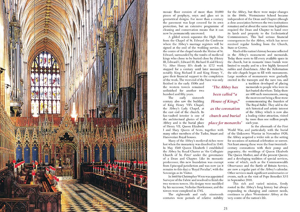 The 11th page continues the history of Westminster Abbey, which is also a burial place for British monarchs