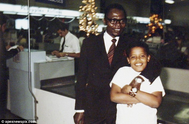 Family portrait: A rare snapshot of President Obama with his father Barack Obama senior who, new documents reveal was a serial womaniser and polygamist