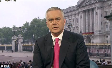 Heavy touch: The BBC's Huw Edwards had been at the fake tan and reminded me of an embittered Clodagh Rodgers