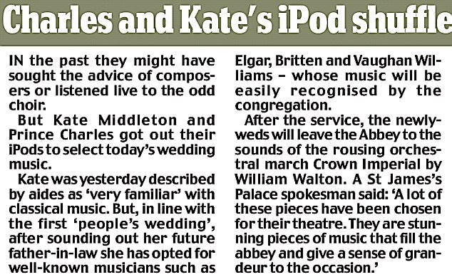 Charles and Kate's iPod helps pick the wedding music