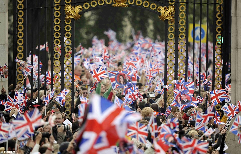All a flutter: British flags as far as the eye can see at Buckingham Palace