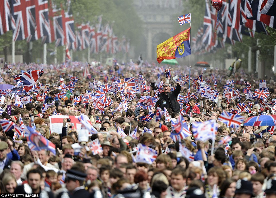 Monarchy mania: It was estimated that a million people thronged the streets of London for the Royal Wedding