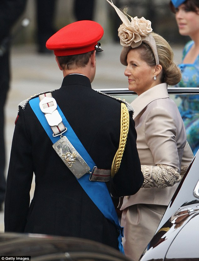 More arrivals: Sophie Countess of Wessex arrived at Westminster Abbey with her husband Prince Edward