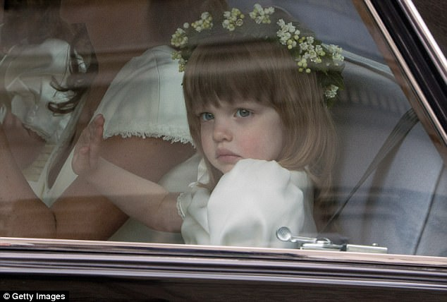 Ever so cute: Three-year-old Eliza Lopes, the Duchess of Cornwall's granddaughter, was the couple's youngest bridesmaid