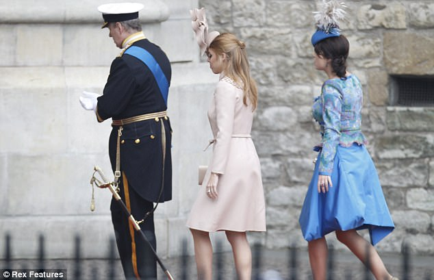 Different: The princesses, who are known for their quirky fashion choices, stood out in their eccentric wedding outfits