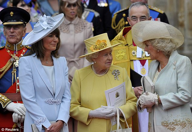 Families united: The Queen, the Duchess of Cornwall and mother of the bride Kate Middleton after the ceremony