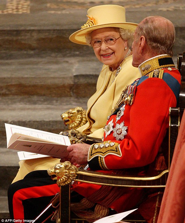 All smiles: The Queen appeared relaxed and happy as she and Prince Philip awaited the ceremony in the Abbey