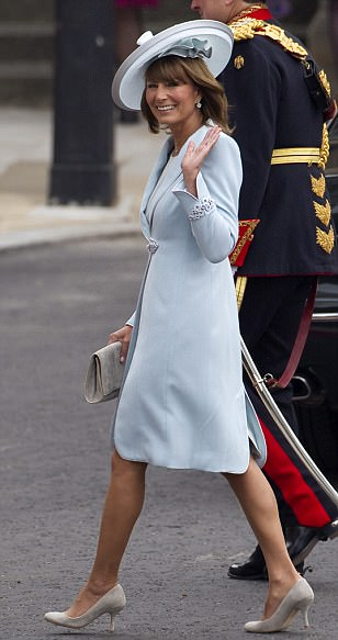 Mother of the bride: Carole Middleton wore a blue wool crepe coat dress