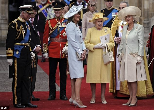 Prince Charles, Prince Phillip, Carole Middleton, Britain's Queen Elizabeth II and Camilla, Duchess of Cornwall stand outside of Westminster Abbey after the ceremony