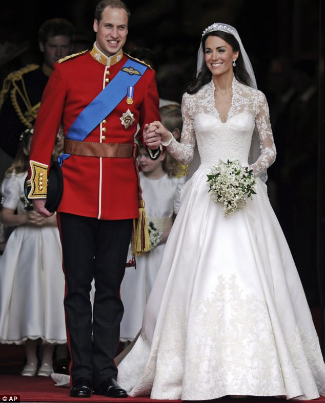 The ex factor: Both William and Catherine, pictured after their wedding at Westminster Abbey today, have remained good friends with their former lovers