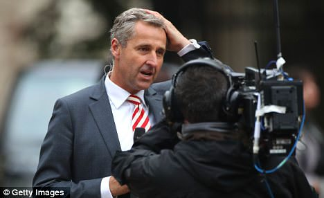 Broken record: ITV's Mark Austin outside Clarence House kept saying, 'As royal events go, they don't get much bigger than this!' every ten minutes