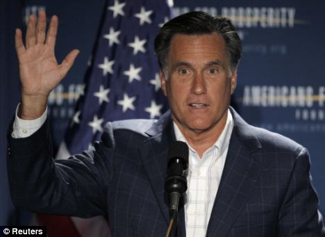 Outspoken: Mitt Romney takes to the stage at the Presidential Summit on Spending and Job Creation in Manchester, New Hampshire