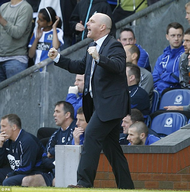 Lifeline: Blackburn boss Steve Kean celebrates his side's goal