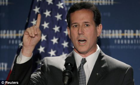 Rousing: Rick Santorum slammed Obama's policies at the Presidential Summit on Spending and Job Creation in Manchester, New Hampshire