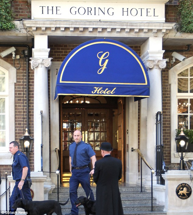 Pricey night: The bill for the exclusive hire of the 71-room Goring Hotel is believed to cost £85,000