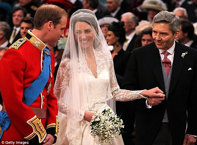 Proud moment: The father of the bride looks on as Prince William is joined by Kate at the altar