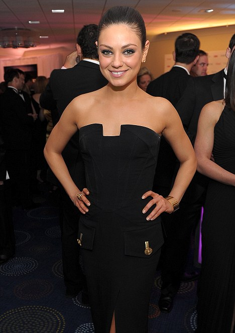 Back in Black: Mila Kunis opted for structured black at the dinner