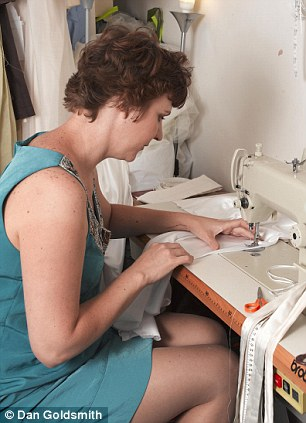 Noon: Once the bustier is boned and finished and the seams are stitched by seamstress Serena Pretorius, right