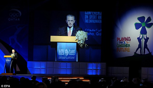 Playing it safe: Rogge - speaking at a conference in Doha - says security will have to remain tight in London