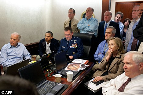 Barack Obama, Joe Biden (left), Hilary Clinton and other senior members of Obama's administration watch as Bin Laden's compound is raided