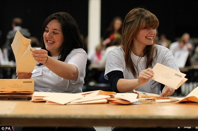 Long night: Election officials count ballot papers  at the Aberdeen Exhibition and Conference Centre after the polls shut in the Scottish Parlimentary Elections