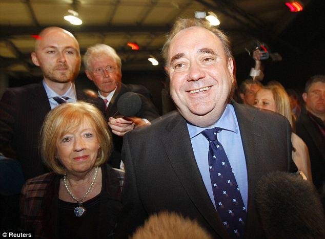 Jubilant: Leader of the Scottish National Party Alex Salmond arrives at a Scottish Parliament election count in Aberdeen. He hailed 'spectacular' successes for his party in elections to the Scottish Parliament