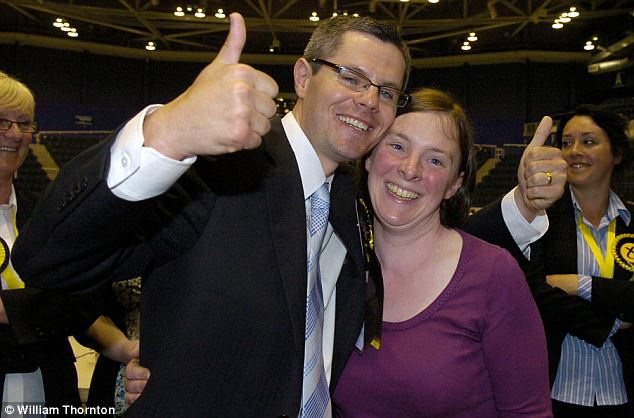 Majority: SNP candidate Derek McKay with his wife Jennifer after winning the Renfrewshire North and West