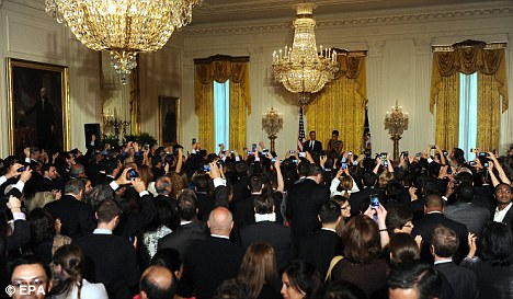 Commander-in-chief: The President received a rapturous welcome after the death of Osama Bin Laden earlier this week