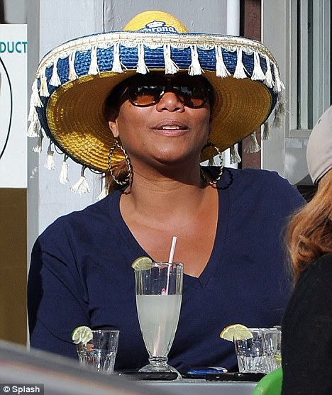 In the party mood: Rapper/actress Queen Latifah celebrated Cinco De Mayo at a Mexican restaurant in New York