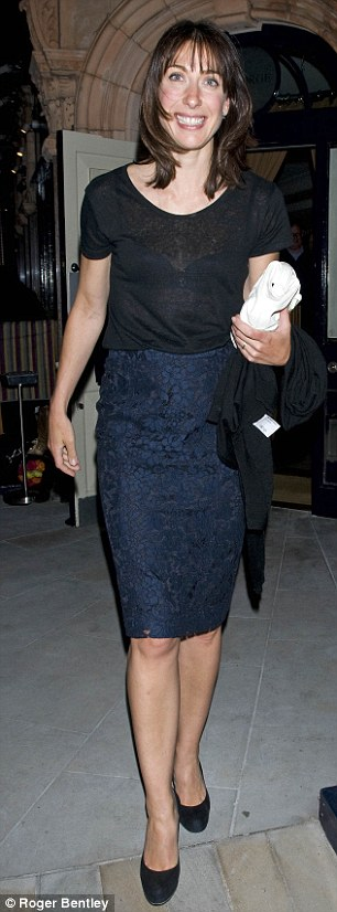 High Street pick: Samantha Cameron wore a Zara tee with her Joseph skirt as she dined at George's in Mayfair