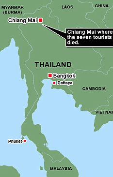 Graphic showing the town in Thailand where the tourists died