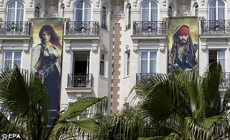 Avast me hearties! Huge banners advertising Pirates of the Caribbean: On Stranger Tides went up on the facade of the Carlon Hotel in Cannes ahead of the 64th Cannes Film Festival this month
